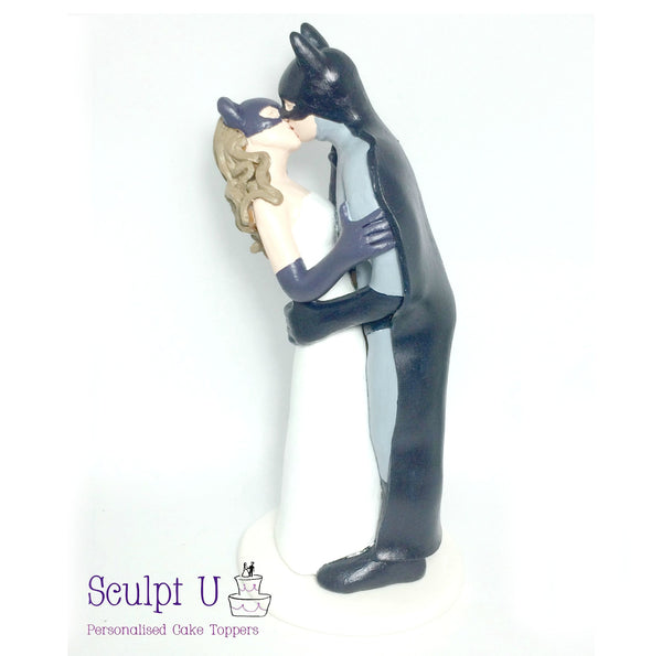 Superhero Batman Catwoman Inspired Wedding Cake Topper Kissing Super Hero Villain Movie Characters Birthday
