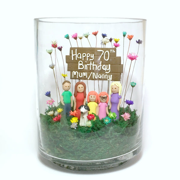 Little Fairy Bloom Custom Birthday Gift 70th 60th 50th 40th 30th Family Portrait with real miniature flowers terrarium