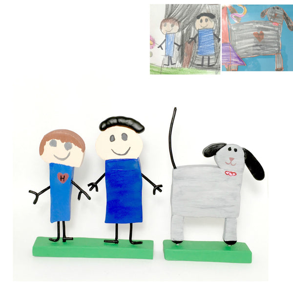 Kids drawing art to Toy Figurine display ornament keepsake fathers day gift idea