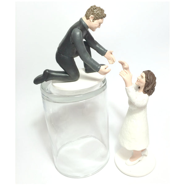 Funny Unique Humourous Realistic Custom Sports Wedding Cake Topper Bride Falling Down