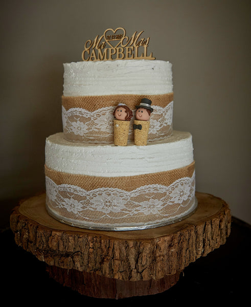 Custom Cork Wedding Cake Topper Bride and Groom Personalised Quirky Winery That Little Nook SculptU