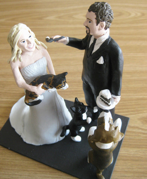 Funny Unique Humourous Realistic Custom Sports Wedding Cake Topper Pets Eating Cake