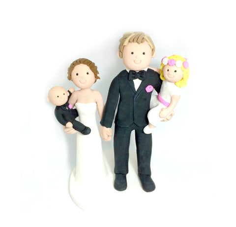 Cartoon Generic Custom Polymer Clay Wedding Family Cake Topper