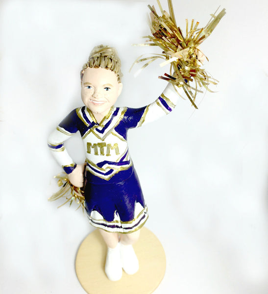 realistic custom birthday cake topper polymer clay handmade figurine keepsake wedding cheerleader