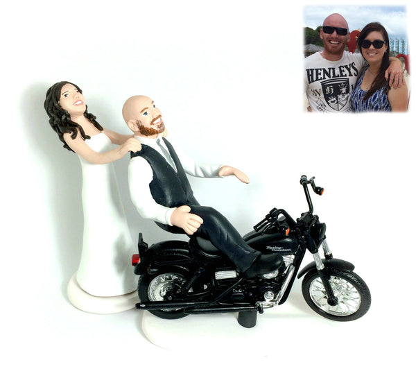 Wedding Cake Topper Custom Realistic Handmade Polymer Clay keepsake with motorbike motorcycle dirtbike bicycle Bride and Groom Portrait Personalised personalized funny humourour unique