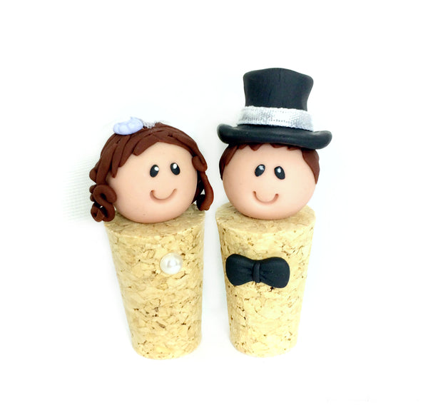 Cork Bride and Groom Cake Topper