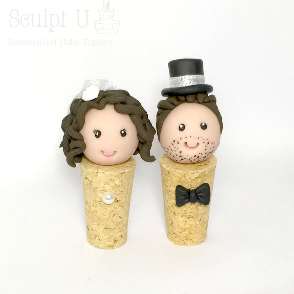 Custom Cork Wedding Cake Topper Bride and Groom Personalised Quirky Winery That Little Nook SculptU Australia