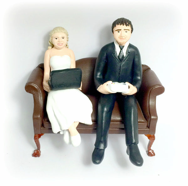 Hobbies Custom Wedding Cake Topper Couch Gamer Movies Funny Humourous Unique