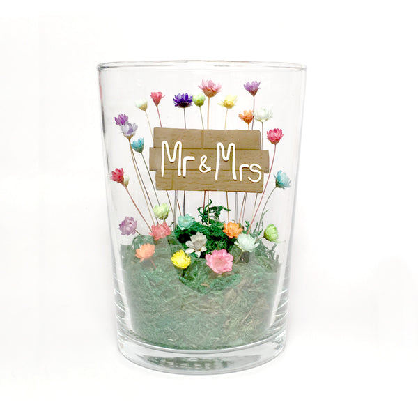 Custom Unique Modern Wedding Gift Terrarium Mr and Mrs Anniversary Engagement