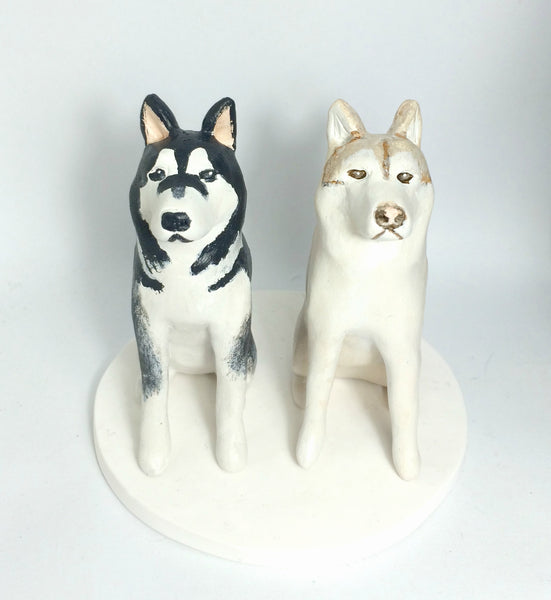 Wedding Cake Topper Custom Realistic Handmade Polymer Clay keepsake with Pets Dogs Horse Bride and Groom Portrait Personalised personalized pets dogs huskies