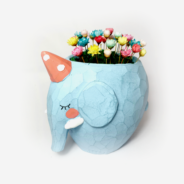 Elephant Planter with miniature flower garden desk plant