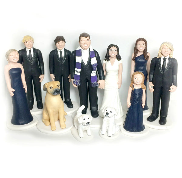 Wedding Cake Topper Family Custom with pets dogs realsitic portrait keepsake