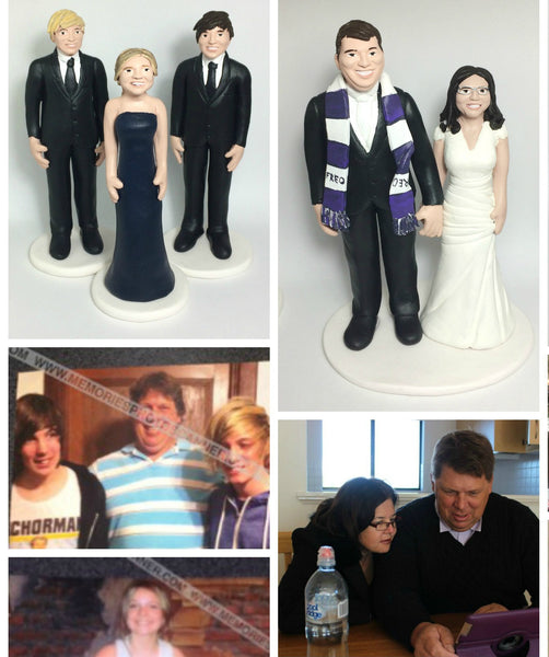 Realistic Family Custom Wedding Cake Topper