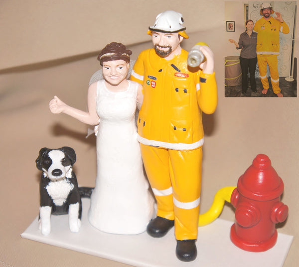 Fireman Firefighter Realistic Custom personalised Wedding Cake Topper polymer clay keepsake handmade using photos