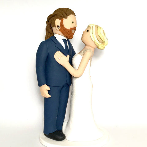 Cartoon Generic Custom Polymer Clay Wedding Cake Bride and Groom Topper Keepsake
