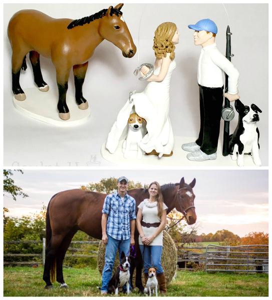 Wedding Cake Topper Custom Realistic Handmade Polymer Clay keepsake with Pets Dogs Horse Bride and Groom Portrait Personalised personalized