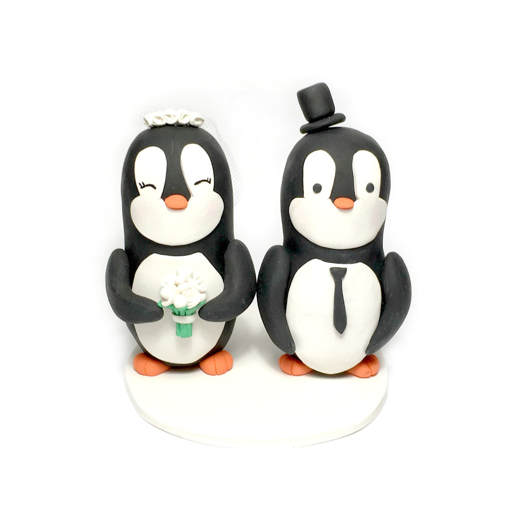 Penguin Cake Topper Polymer Clay Keepsake Penguins Bride and Groom Fun Cute Animal