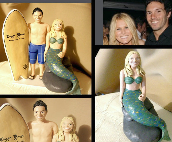 Surfboard Surfing Beach Mermaid Realistic Custom Portrait Cake Topper