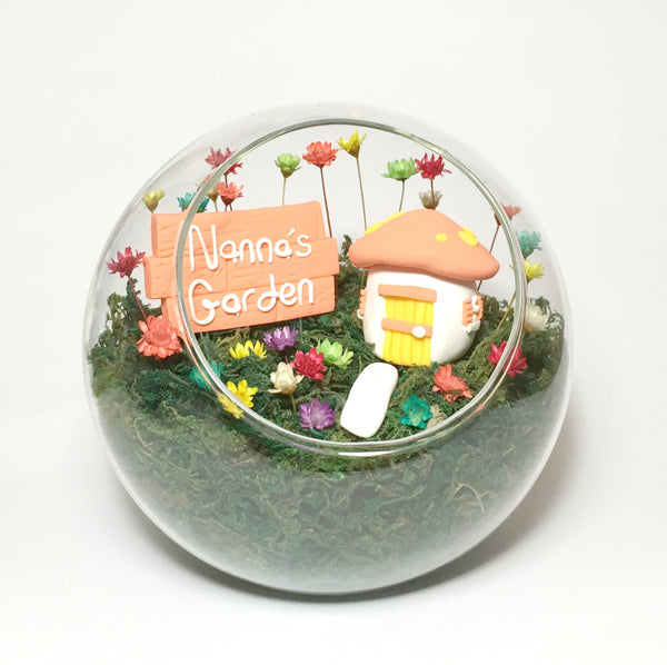 Cottage Garden Fairy Garden Indoor Tiny Garden with real flowers miniature Polymer Clay