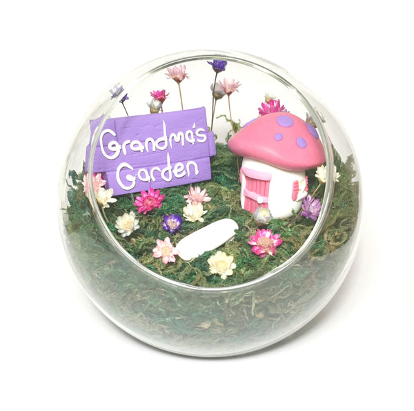 Cottage Garden Fairy Garden Indoor Tiny Garden with real flowers miniature