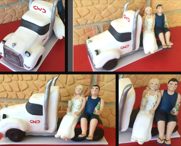 Custom Wedding Cake Topper Semi Trailer Truck Trucker Bride and Groom