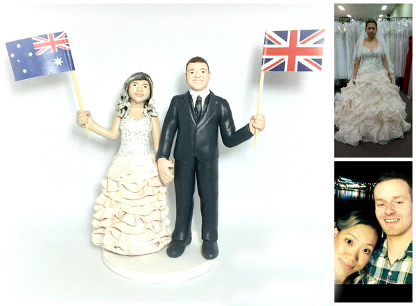 Funny Unique Humourous Realistic Custom Sports Wedding Cake Topper Flags UK Australia