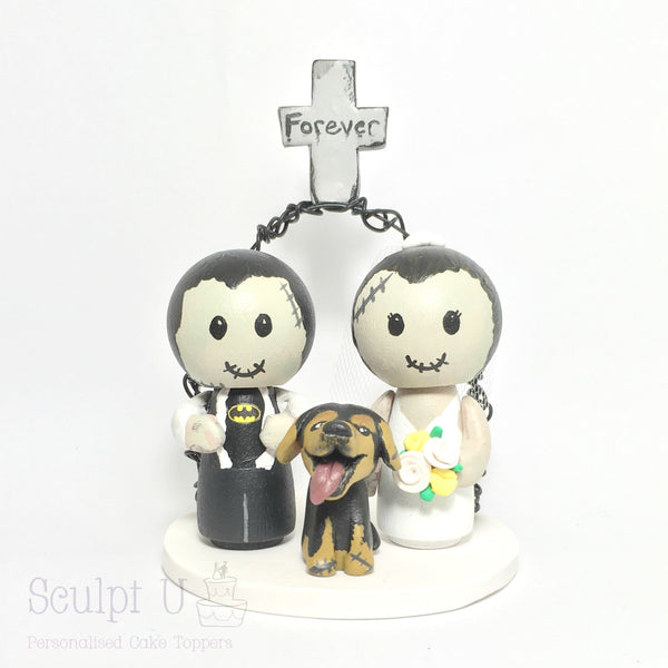 Peg Doll Custom Cake Topper Wedding Bride and Groom Wooden Character Zombie Pets Dog
