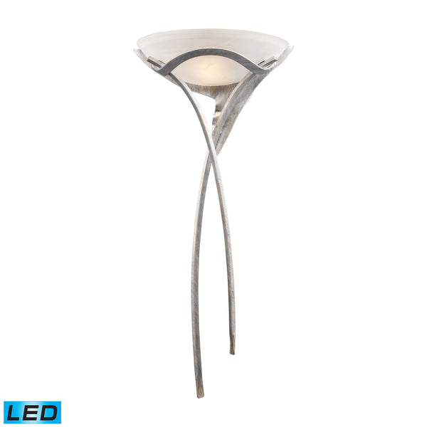 Aurora 1 Light LED Sconce In Tarnished Silver With White Faux-Alabaster Glass