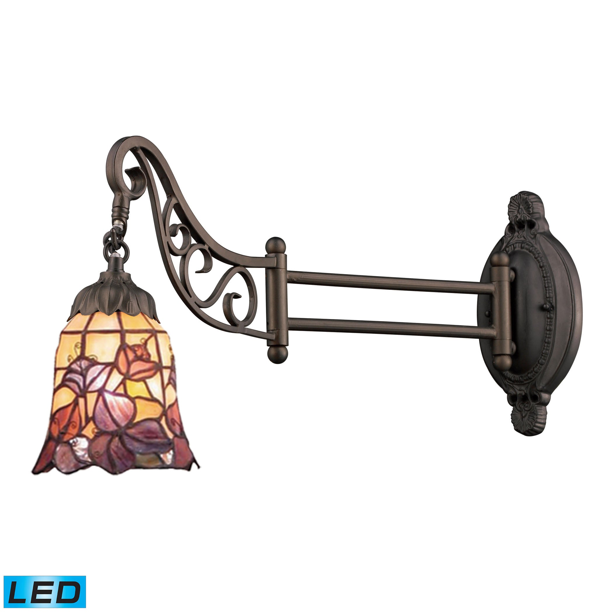 ELK Lighting  Mix-N-Match 1-Light Swingarm Sconce in Tiffany Bronze - LED Offering Up To 800 Lumens (60 Watt Equiv