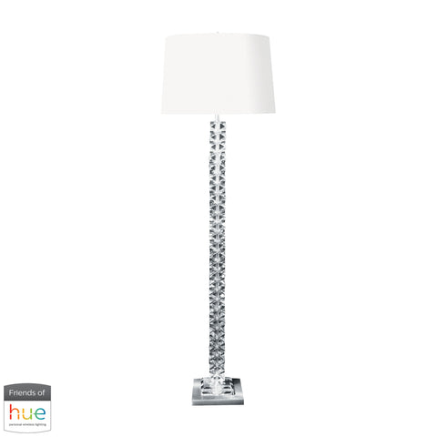 Beautiful Dimond Lighting  Diamond Cut Crystal Floor Lamp with Satin Nickel Base - with Philips Hue LED Bulb/Bridge  in  Crystal