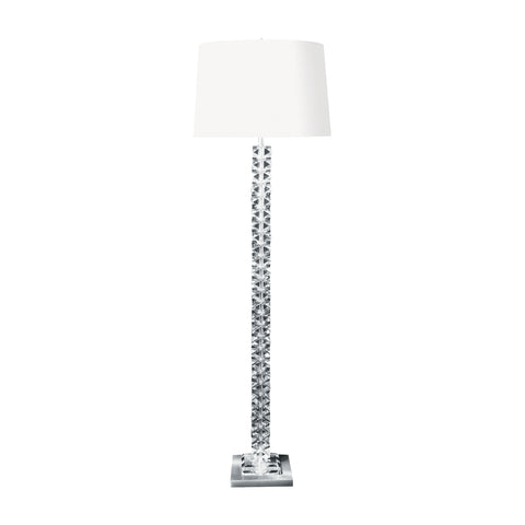 Beautiful Dimond Lighting  Diamond Cut Crystal Floor Lamp with Satin Nickel Base  in  Crystal