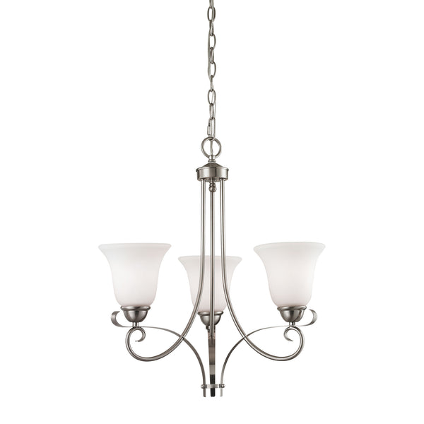 Thomas Brighton 3 Light EEF Chandelier In Brushed Nickel