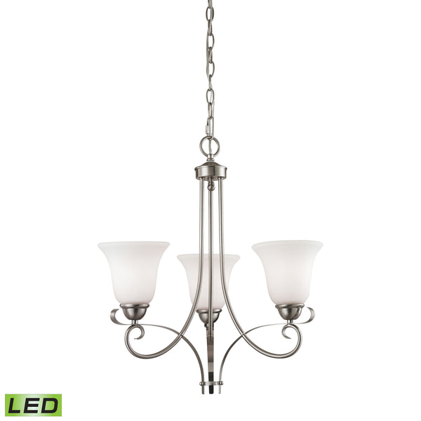 Thomas Brighton 3 Light LED Chandelier In Brushed Nickel
