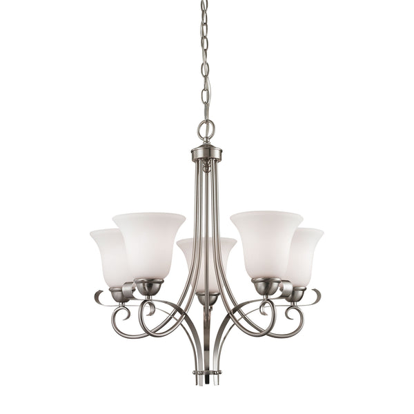 Thomas Brighton 5 Light EEF Chandelier In Brushed Nickel