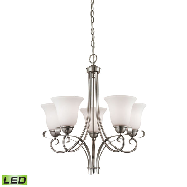 Thomas Brighton 5 Light LED Chandelier In Brushed Nickel