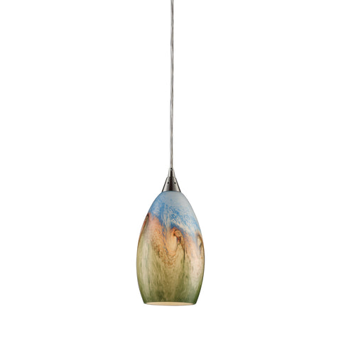 Geologic 1 Light Pendant In Satin Nickel And Multicolor Glass