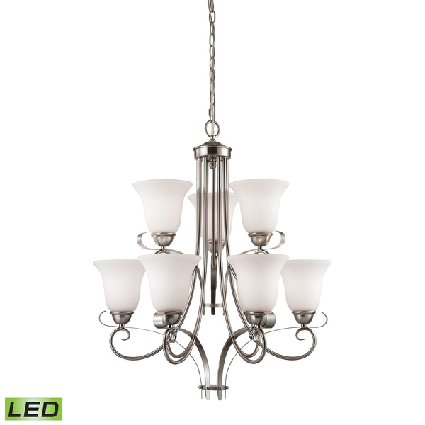 Thomas Brighton 9 Light LED Chandelier In Brushed Nickel