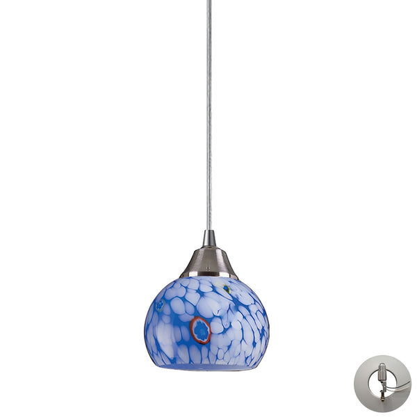 Mela 1 Light Pendant In Satin Nickel And Starburst Blue Glass - Includes Recessed Lighting Kit