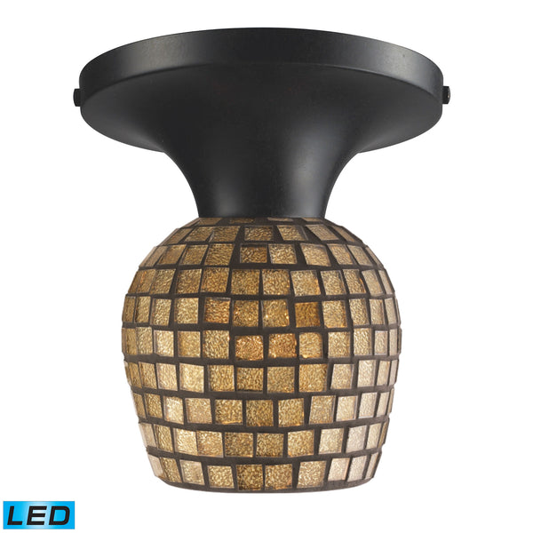 Celina 1 Light LED Semi Flush In Dark Rust And Gold Leaf Glass