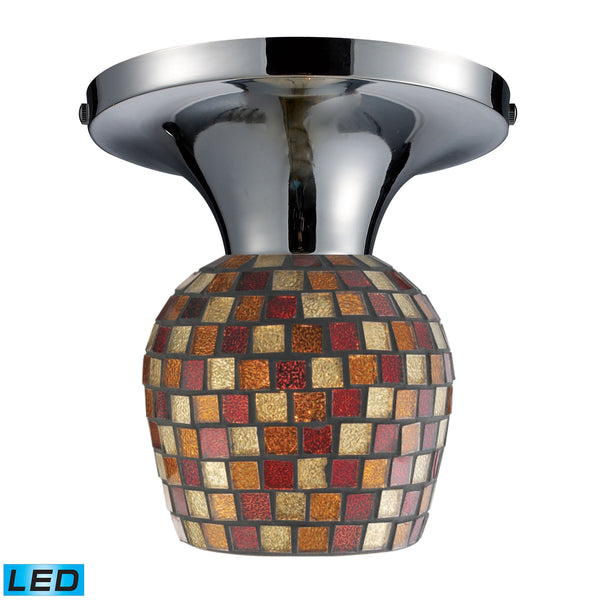 Celina 1 Light LED Semi Flush In Polished Chrome And Multi Fusion Glass