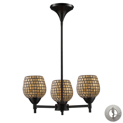 Celina 3 Light Chandelier In Dark Rust And Gold Leaf Glass - Includes Recessed Lighting Kit