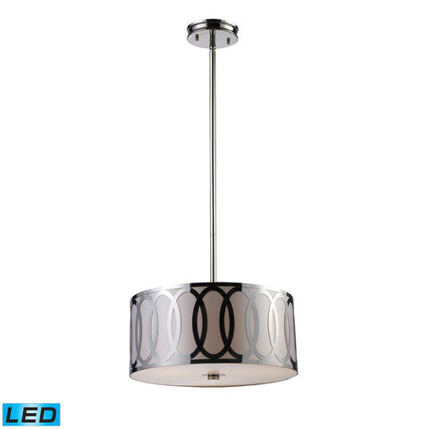 Anastasia 3 Light LED Pendant In Polished Nickel