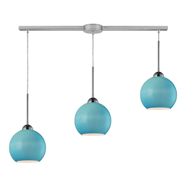 Cassandra 3 Light Pendant In Polished Chrome And Aqua Glass