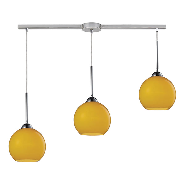 Cassandra 3 Light Pendant In Polished Chrome And Lemon Glass