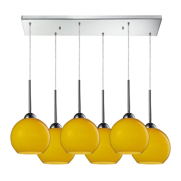 Cassandra 6 Light Pendant In Polished Chrome And Lemon Glass