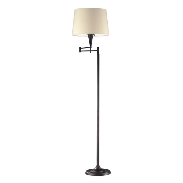 1 Light Swingarm Floor Lamp In Aged Bronze With Beige Shade