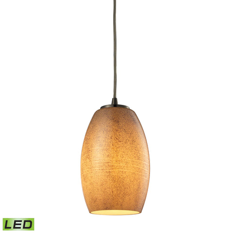 Andover 1 Light LED Pendant In Satin Nickel And Textured Beige Glass