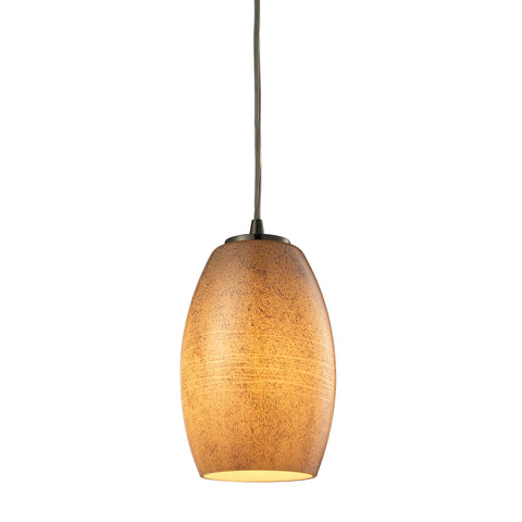 Andover 1 Light Pendant In Satin Nickel And Textured Beige Glass