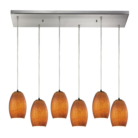 Andover 6 Light Pendant In Satin Nickel And Textured Brown Glass