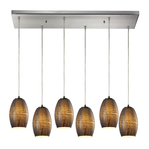 Andover 6 Light Pendant In Satin Nickel And Textured Multicolor Glass
